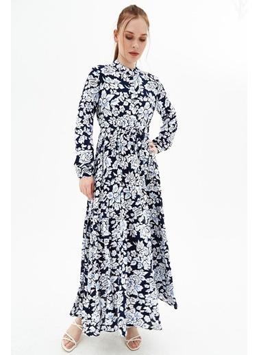 Pattaya Pattaya Kadın Desenli Düğmeli Mevsimlik Uzun Elbise P21S110-4412 Lacivert